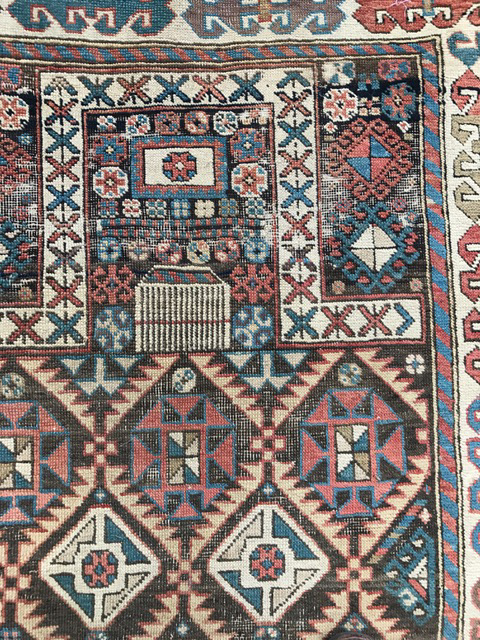Antique Akstafa prayer rug detail 2
