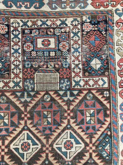 Antique Akstafa prayer rug detail 2