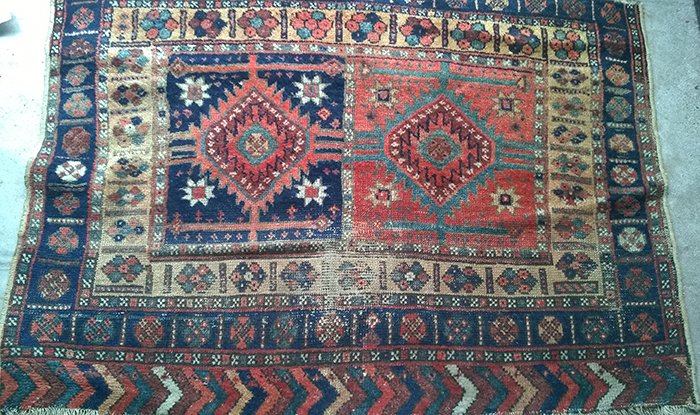 Small rug 19th c Kurdish bag front